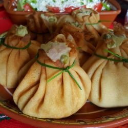 Stuffed Pancake Bundles with Russian Salad