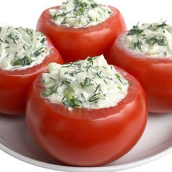 Stuffed Tomatoes with Cheese and Onions