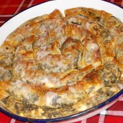 Spiral Phyllo Pastry with Dock and Homemade Feta Cheese