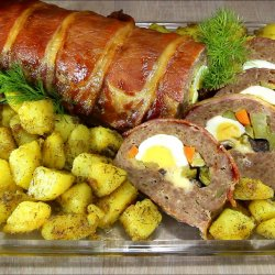 New Year`s Meat Roll with Tasty Garnish