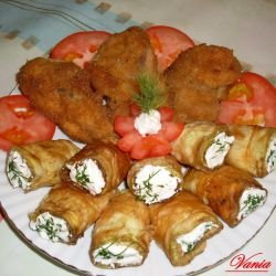 Breaded Rabbit with Rolls of Zucchini and Qatiq
