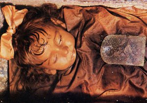 Preserved mummy of the Sicilian sleeping beauty