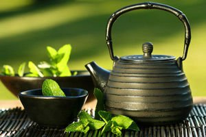 Kettle with green tea