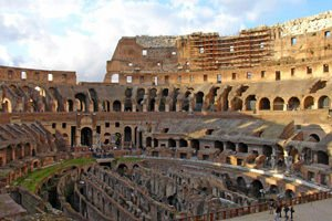 The ruins of the Colosseum in Rome
