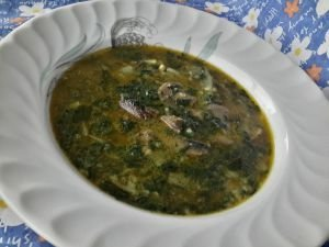 Soup of Mushrooms, Frozen Spinach and Rice