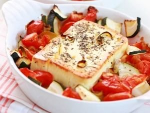 Feta Cheese in Parchment Paper