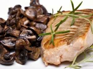 Oven Grilled Salmon with Mushrooms