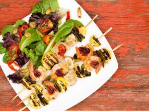 Skewers with shrimp