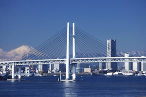 Yokohama Bay Bridge and Mountain Fuji