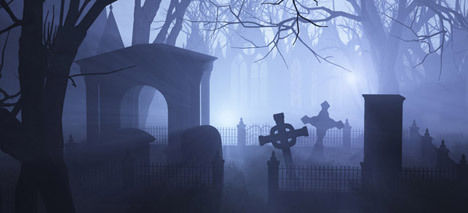 Why green glow in the cemetery? Total mystery!