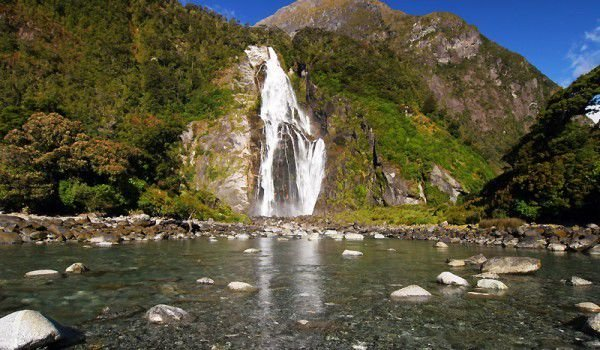 Bowen Falls in Fiordland National Park
