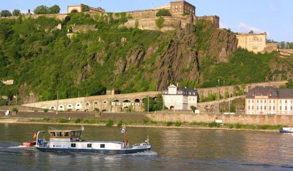 Ehrenbreitstein fortress from the German Corner in Koblenz