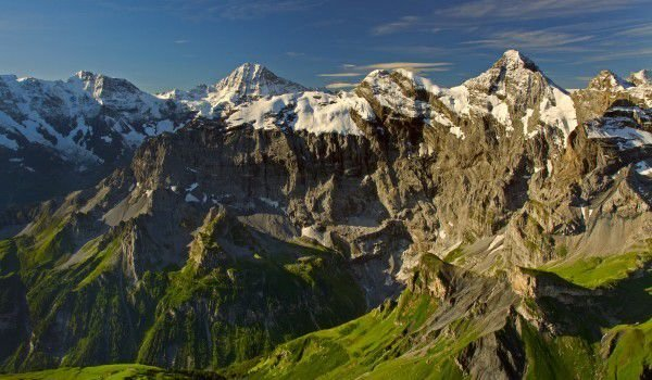 Schilthorn, Eiger, Moench and Jungfrau