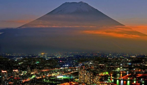 Yokohama and Fuji Mountain