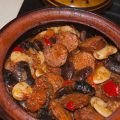 Beans with Sausages in a Clay Pot