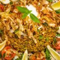 Vegetable and Turmeric Recipes - Mujaddara - Indian-Style Rice with Lentils and Onions