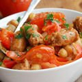 Meat and Coriander Recipes - Chickpeas with Sausages and Curry