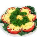 Summer Hors d'Oeuvre of Tomatoes and Cheddar