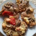 Pork Steaks with Mushrooms, Processed Cheese and Marinade