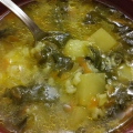 Spinach Soup with Potatoes and Rice
