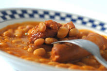 Beans with Black Pudding in a Pot