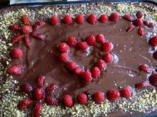 Biscuit Cake with Chocolate and Raspberries