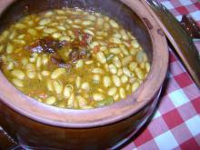 Tasty Beans in a Clay Pot with Peppers
