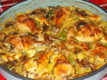 Drunk Chicken Legs with Mushrooms, Potatoes and a Little Something