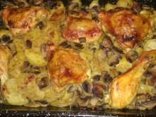 Chicken Legs with Potatoes, Mushrooms and Beer