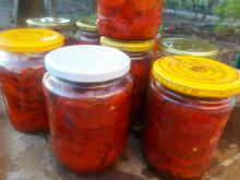 Red Peppers in Jars for the Winter