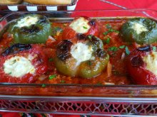 Peppers with Feta Cheese in Tomato Sauce