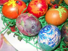 Colorful Eggs with Decoupage