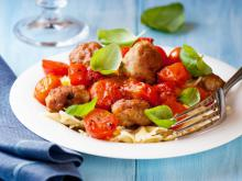 Meatballs with Tomato Sauce and Farfalline