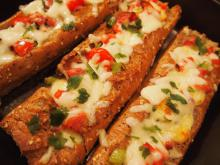 Stuffed Baguette with Cheese, Bacon and Vegetables