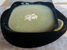 Cream of Broccoli Soup with Carrots and Blue Cheese