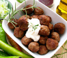 Oven Grilled Meatballs with Leeks