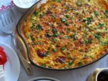 Moussaka with Bechamel, Eggs and Cheese