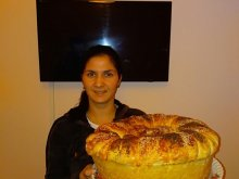 Giant Round Loaf with Feta Cheese and Butter
