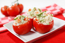 Stuffed Tomatoes with Asparagus, Cheese and Fish