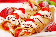Irish Pancakes with Whipped Cream and Strawberries