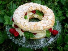 French Paris–Brest Dessert with Raspberries