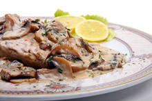 Chicken Steaks with Mushroom Sauce and Processed Cheese