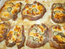 Pork Steaks with Processed Cheese, Pickles and Beer