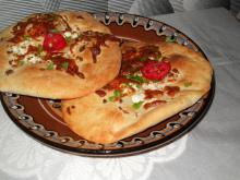 Appetizing Homemade Flatbread with Feta Cheese and Cheese