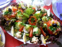 Colorful Salad with Stuffed Eggs