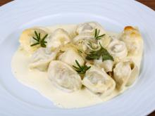 Homemade Pelmeni with Cream