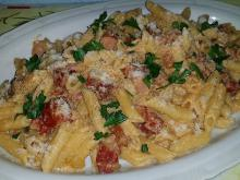Penne with Chorizo and Eggs