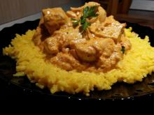 Chicken Tikka Masala with Sour Cream and Coconut Flakes
