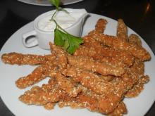 Chicken Strips with Sesame and Garlic Sauce
