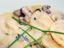 Ravioli with Mushroom and Cream Sauce